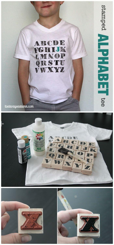 Camiseta Aphabet estampada con bricolaje fácil Traje para el primer día de clases