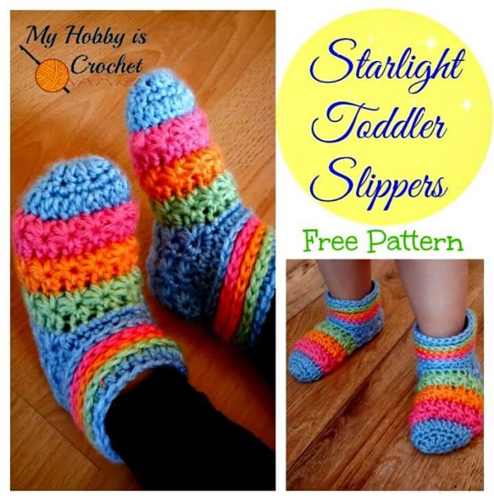 Patrón de pantuflas para niños pequeños Starlight de ganchillo gratis con tutorial