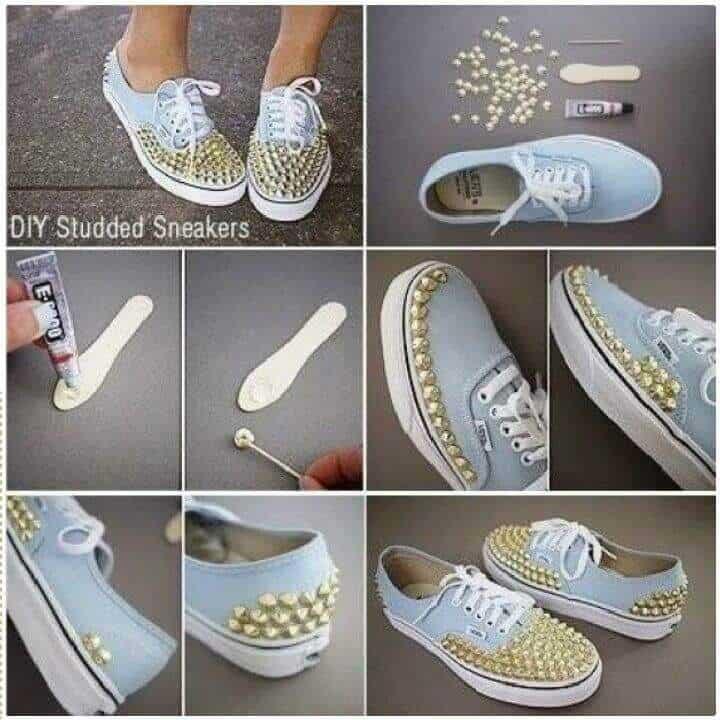 Zapatillas con tachuelas de bricolaje