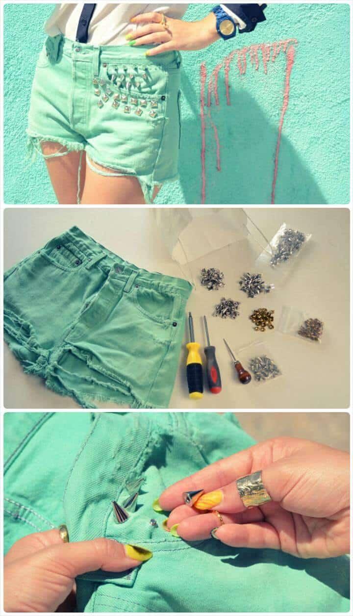 pantalones cortos de verano con tachuelas verdes DIY