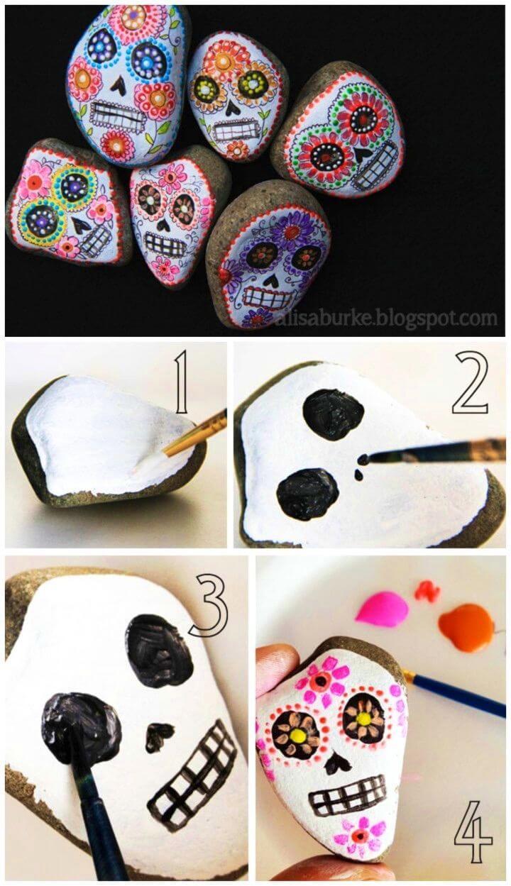 DIY Sugar Skulls Painted Rock, Painted Rock Scary Kids Crafts
