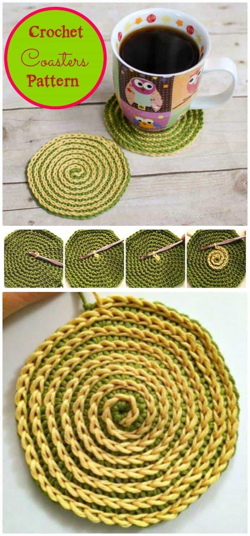 Patrón de posavasos de ganchillo en espiral de verano de bricolaje, patrones de posavasos de ganchillo fáciles y gratuitos para los amantes del ganchillo.  ¡Posavasos de crochet excepcionales para principiantes!