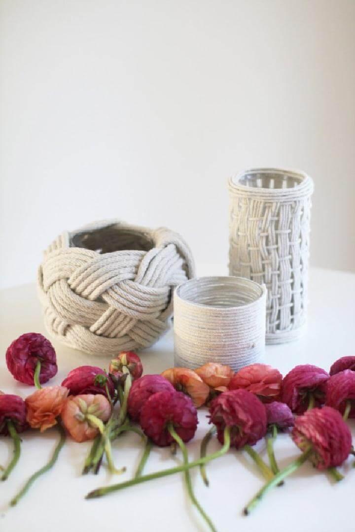 Jarrones de cuerda hechos a mano súper hermosos de bricolaje