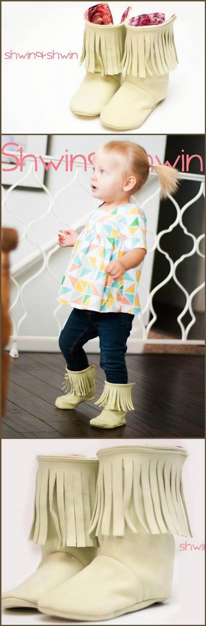 zapatos de bebé con flecos hechos a mano