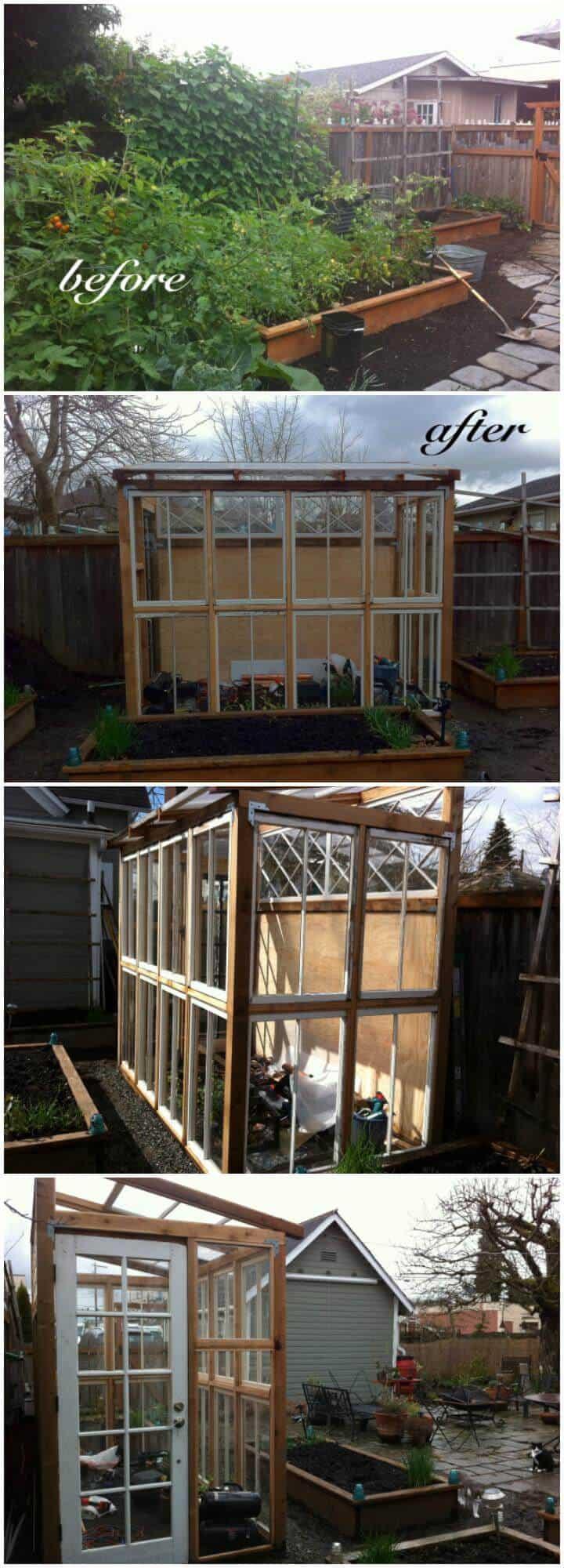 Invernadero de bricolaje de muy bajo costo hecho de ventanas y puertas viejas