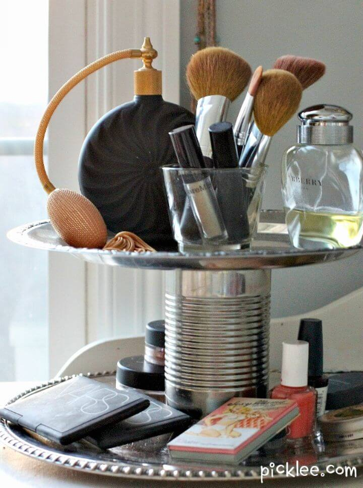 Organizador elegante de dos niveles para bricolaje - Organizador de maquillaje / Ideas de almacenamiento