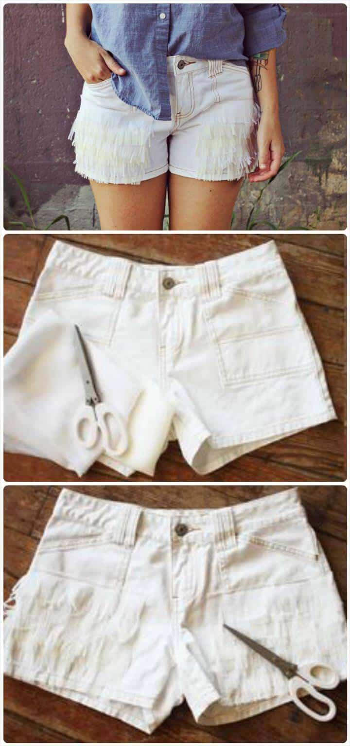 Tutorial de pantalones cortos de verano con textura de bricolaje