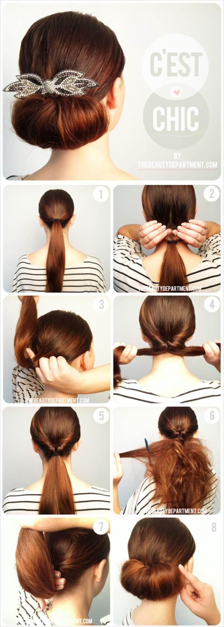 fácil el peinado twist flip bun