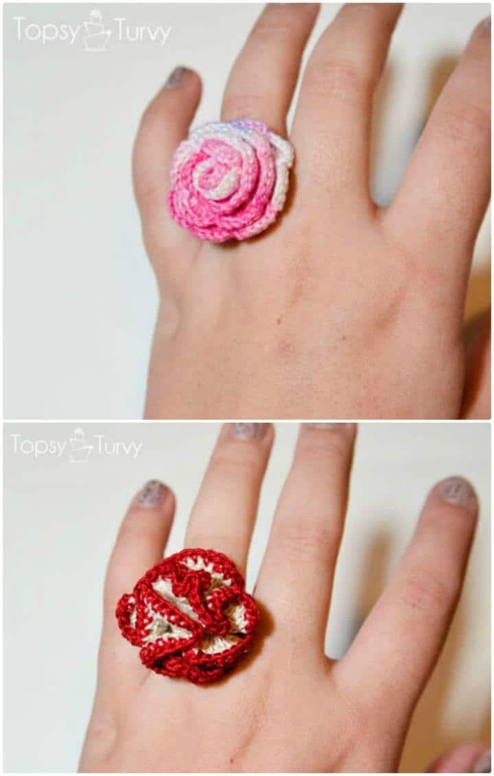 Patrón de anillo rosa de ganchillo de hilo fácil