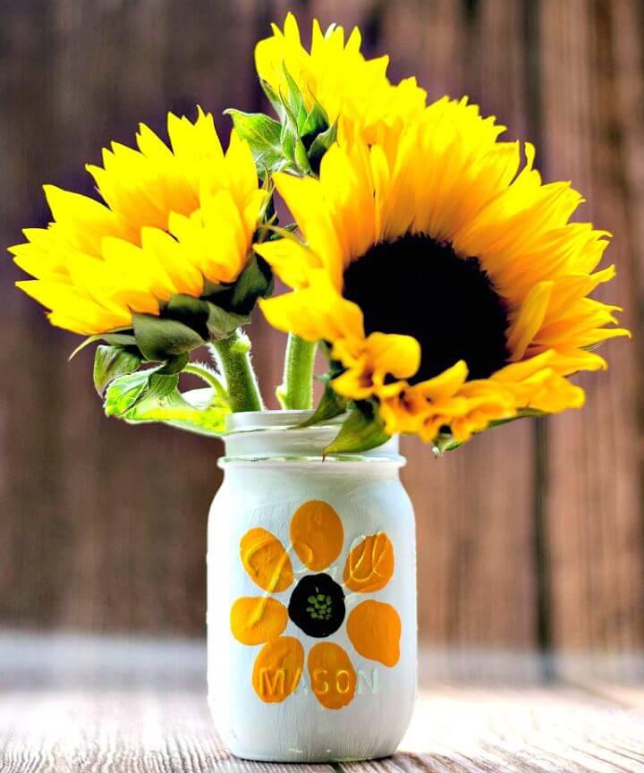 Tarro de masón de flores con huella digital fácil de bricolaje