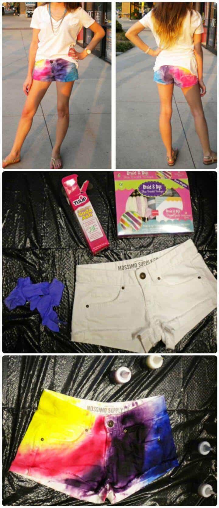 cambio de imagen de pantalones cortos de verano con efecto tie dye