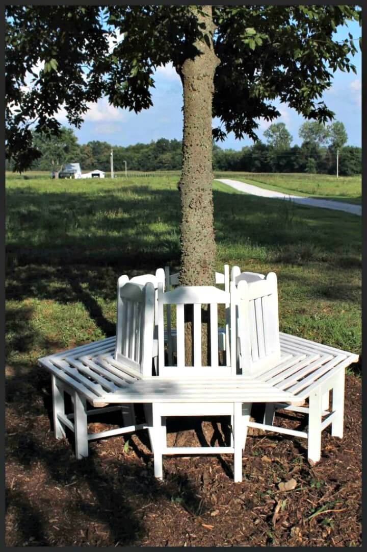 Banco de árbol de bricolaje desde sillas de cocina - Ideas de muebles de jardín