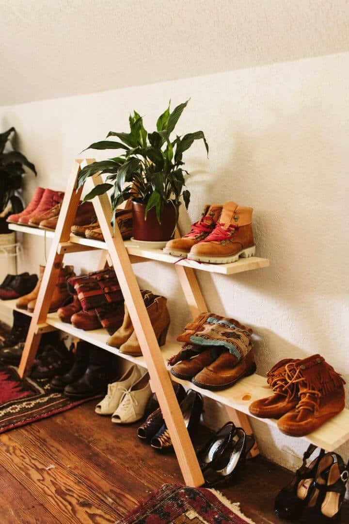 Estante de almacenamiento de zapatos triangular de bricolaje