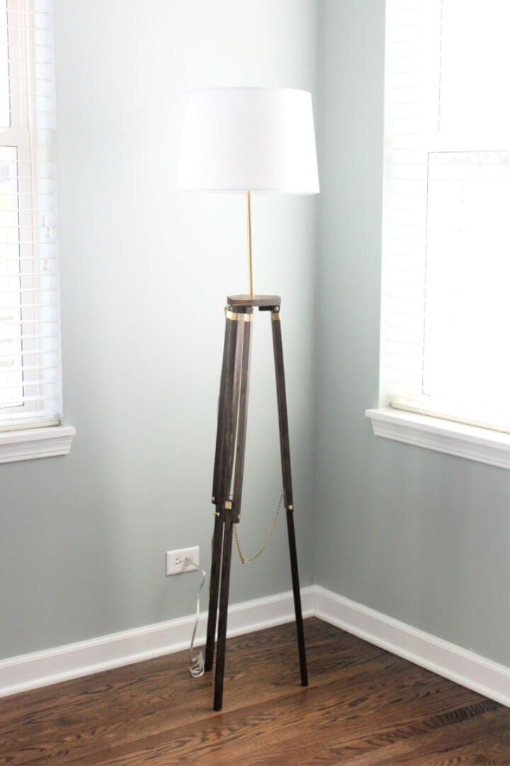 Lámpara de pie trípode de bricolaje para comedor