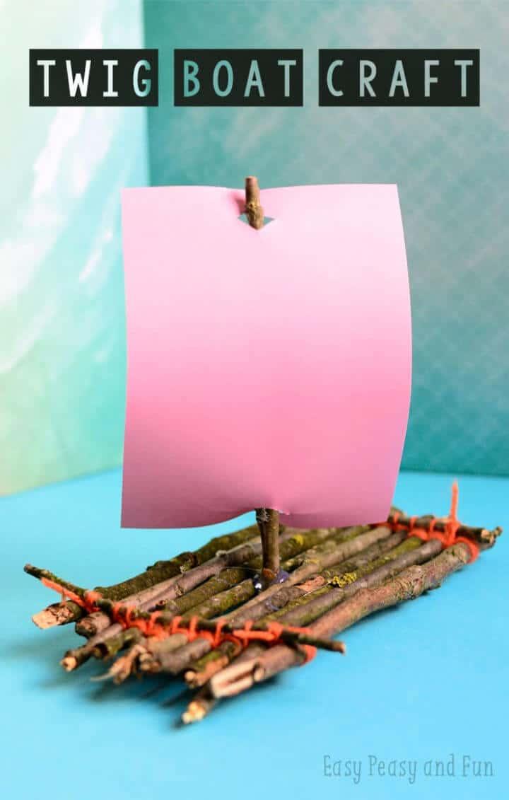Artesanía DIY Twig Boat para campamento
