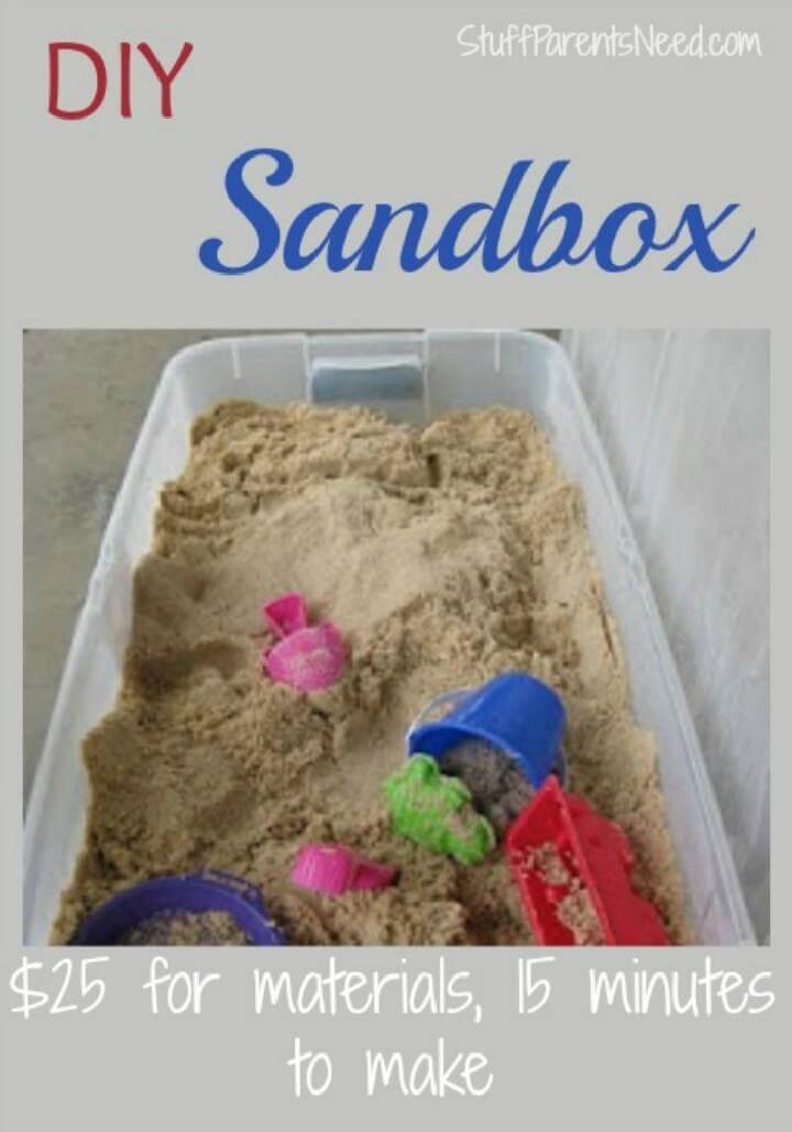 Cubo de almacenamiento debajo de la cama de bricolaje en la caja de arena para niños