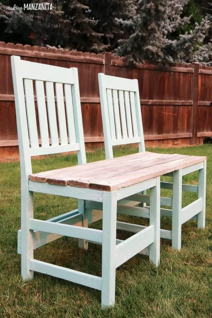 Banco de silla reciclado de bricolaje para patio trasero