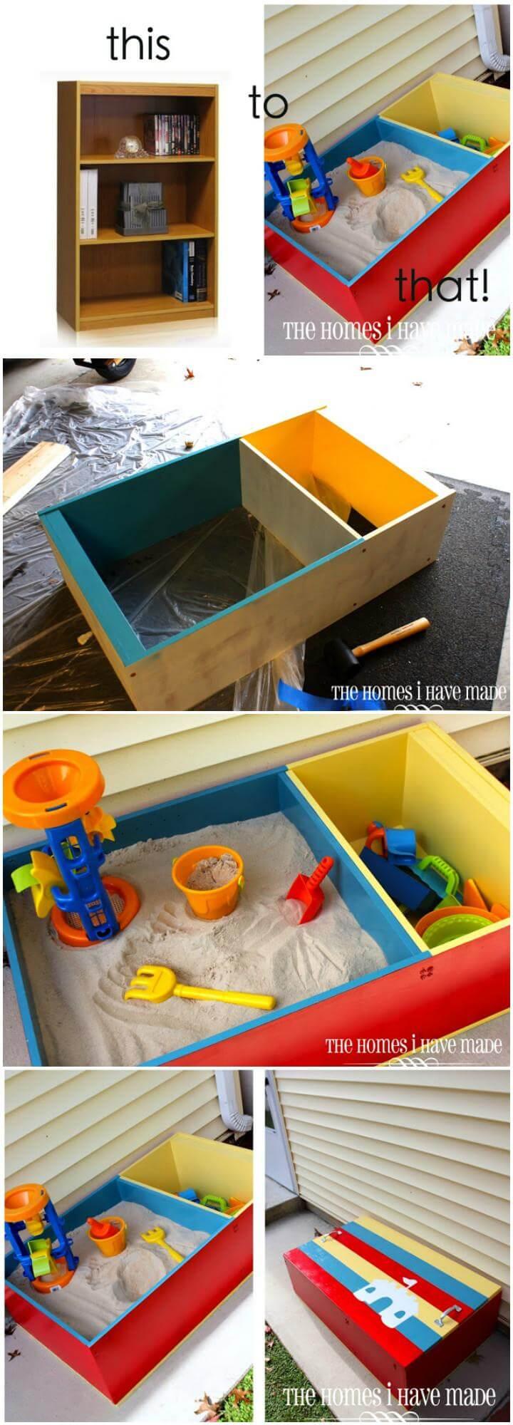 Mini librería reciclada de bricolaje en caja de arena para niños Color Block