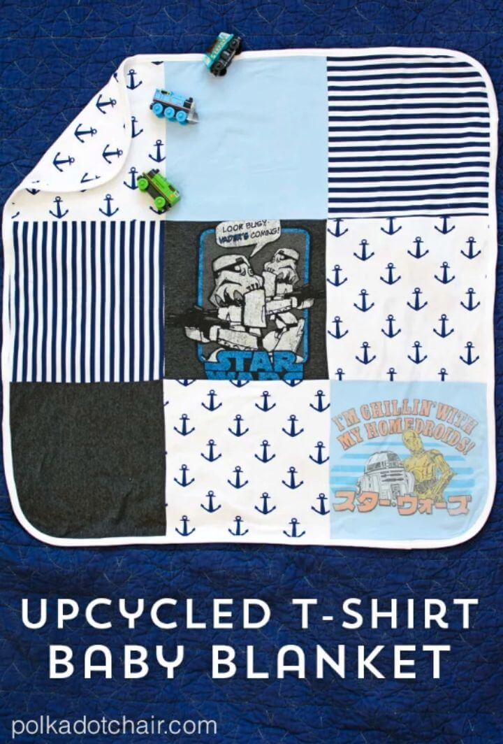 Manta de bebé de camiseta reciclada de bricolaje