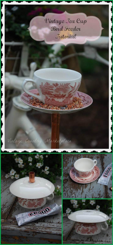 comedero para pájaros fácil de taza de té vintage