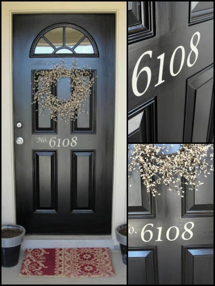 Número de casa de vinilo DIY para puerta de entrada