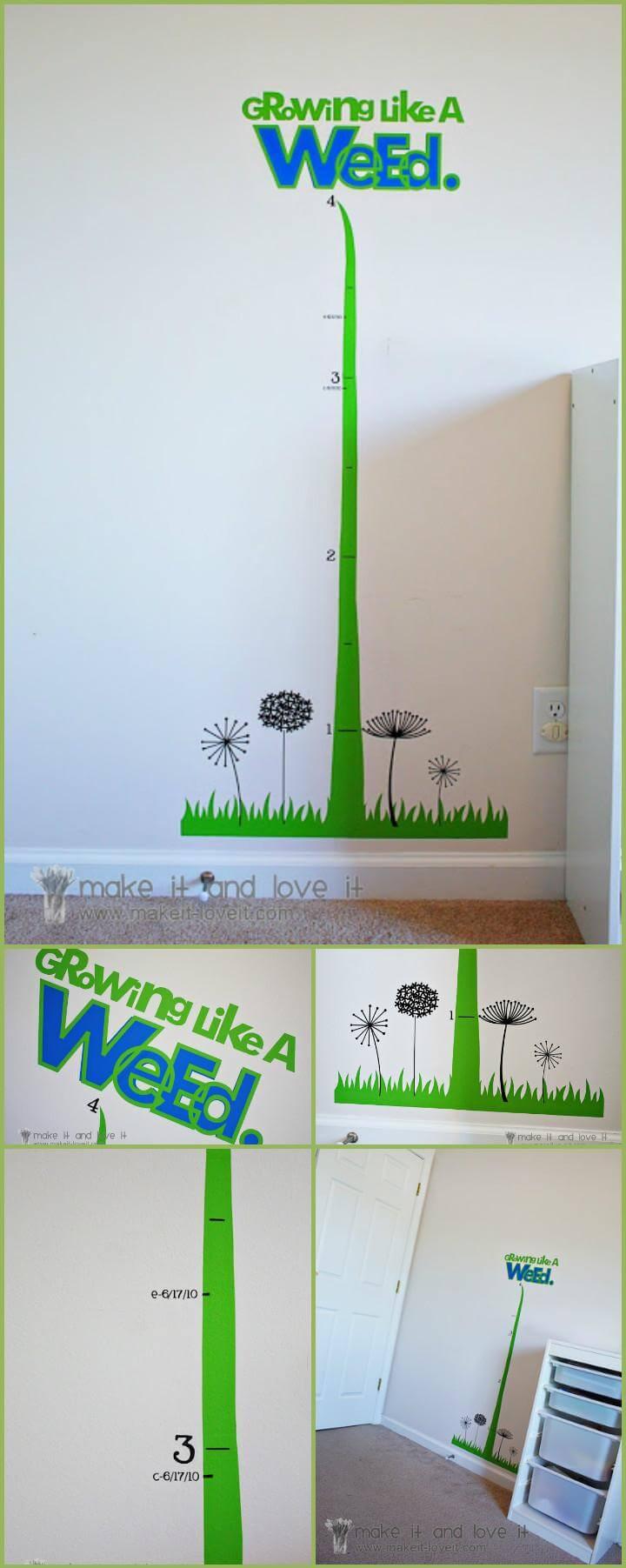tabla de crecimiento de la habitación de los niños de vinilo fácil