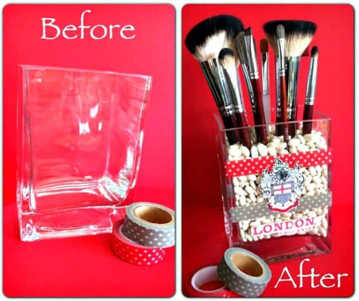 Soporte de pincel de maquillaje de cinta Washi DIY