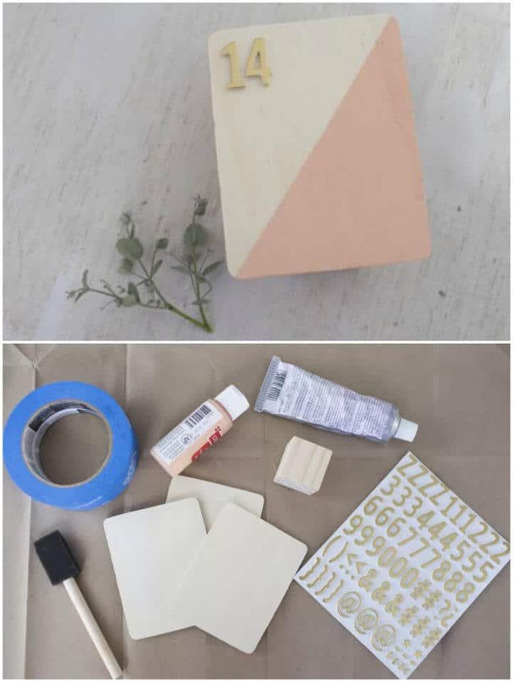 Números y titulares de mesa de boda de bricolaje