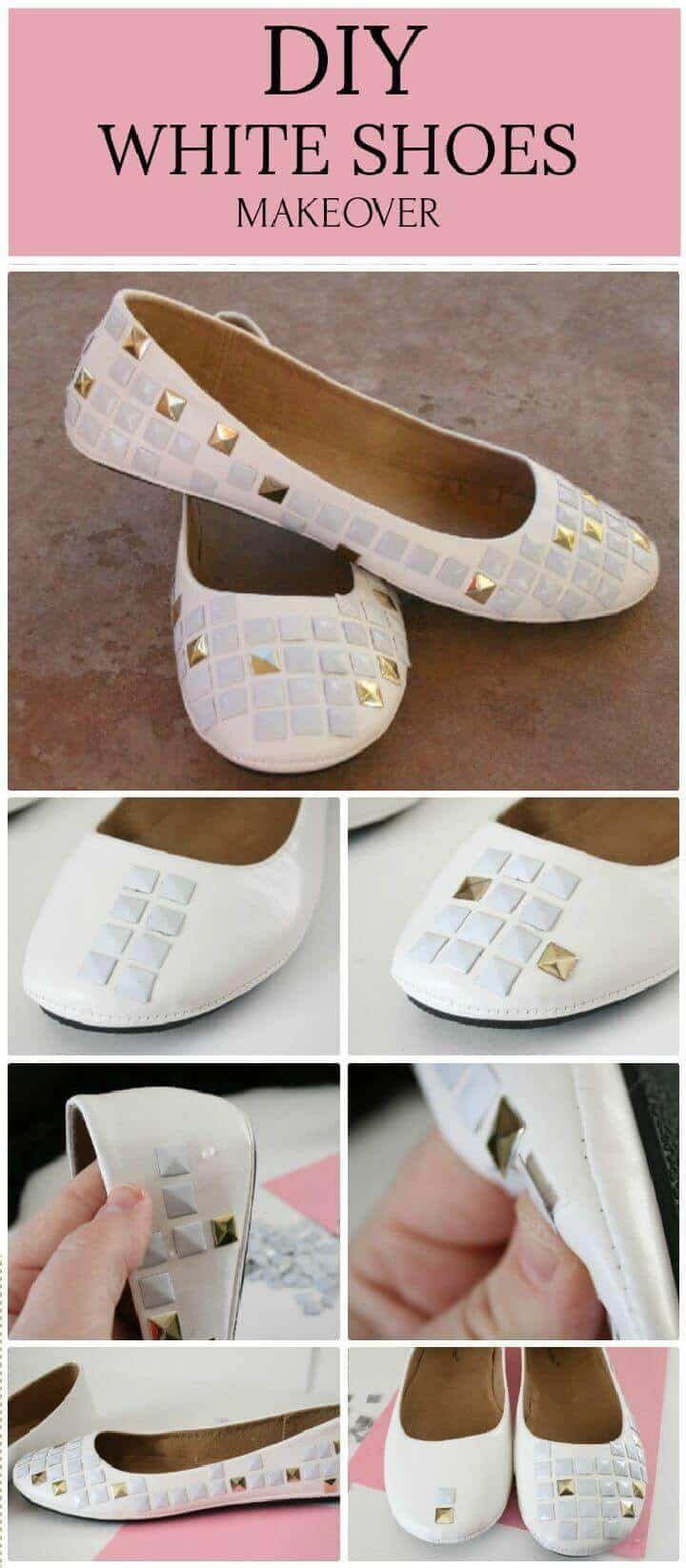 Bricolaje con tachuelas blancas en zapatos planos blancos Cambio de imagen