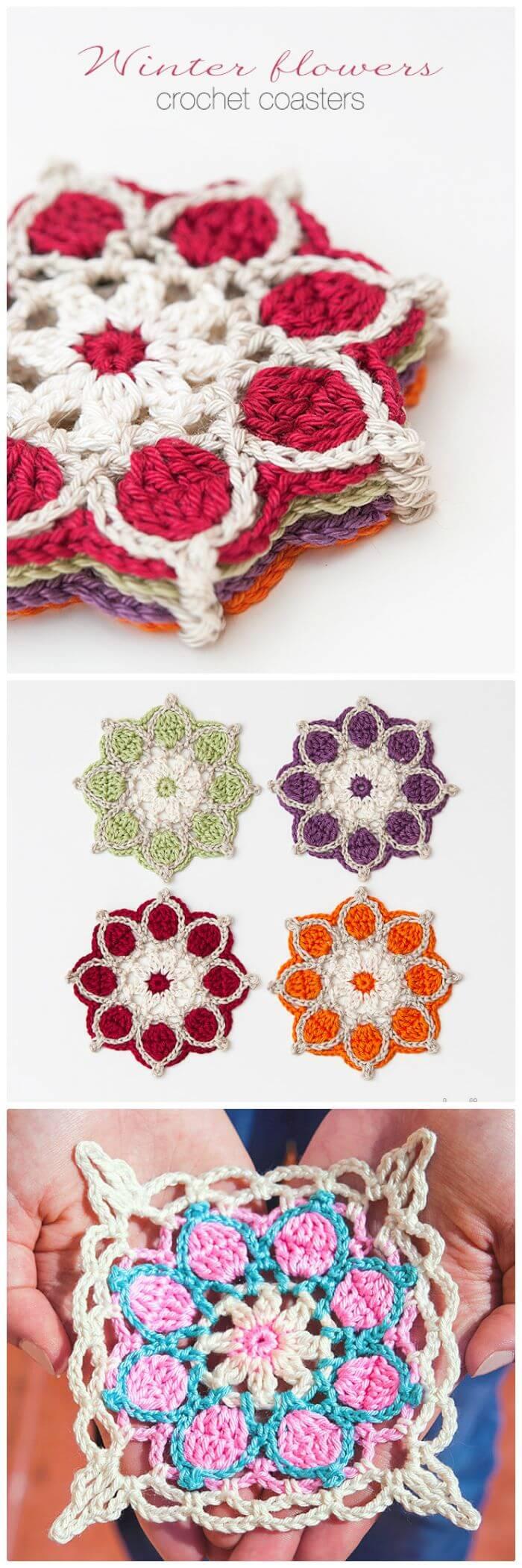 DIY Winter Flowers Crochet Coasters-Free Crochet Pattern, ¡Cómo tejer una montaña rusa paso a paso!