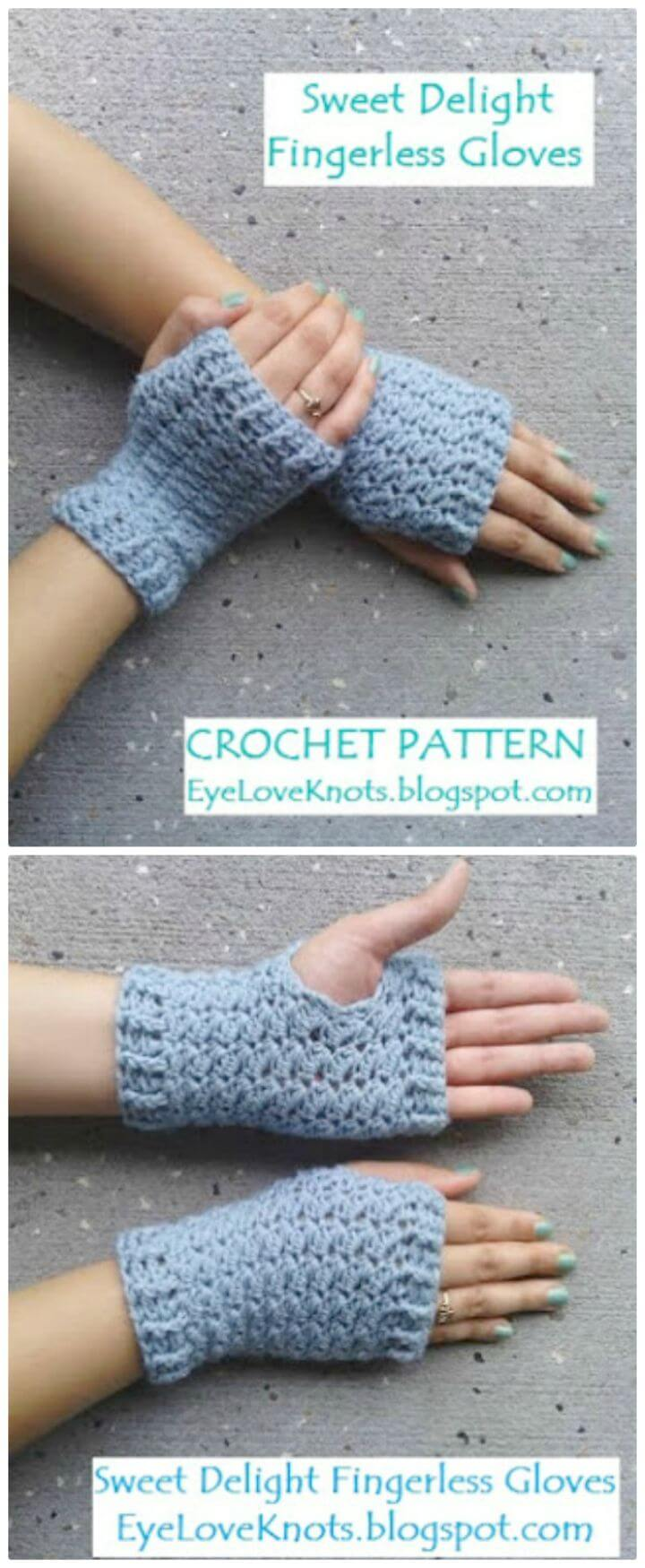 Patrón de guantes sin dedos Sweet Delight de ganchillo gratis para mujer