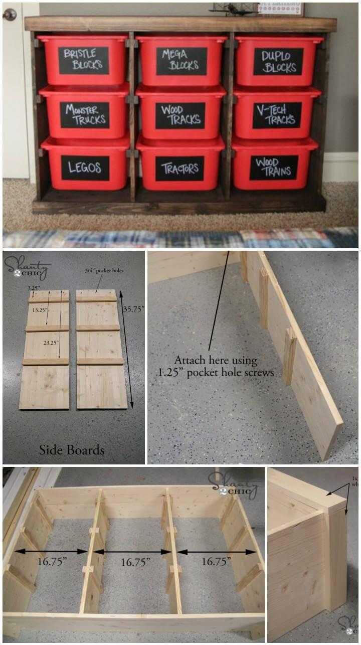 estante de almacenamiento de canasta de madera y plástico hecho a sí mismo