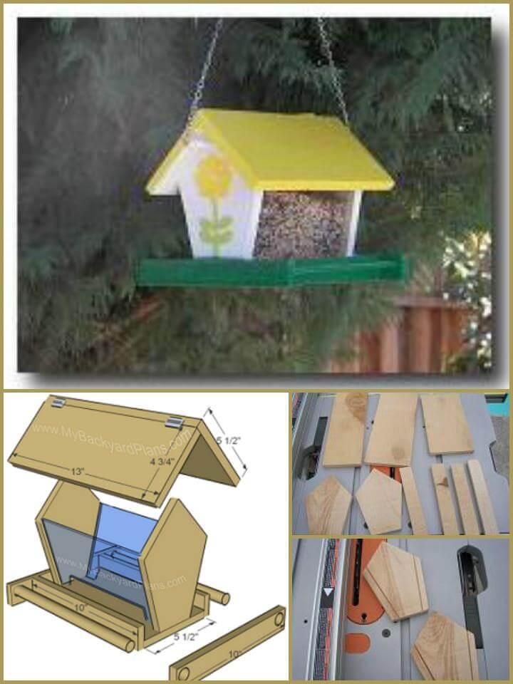 comedero para pájaros de madera hecho a mano