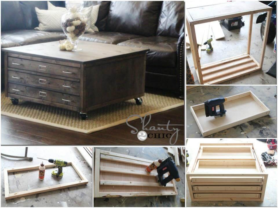 Mesa de centro de madera hecha a mano con ruedas y almacenamiento.