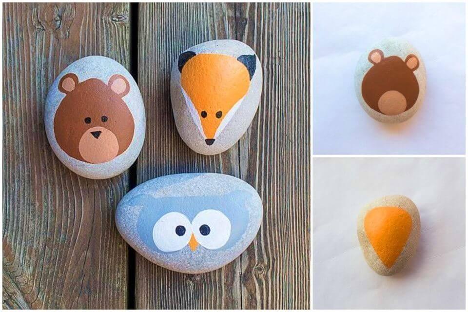 Rocas pintadas de animales del bosque de bricolaje, mejore la decoración de su jardín con las rocas pintadas