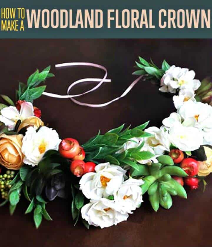 Corona de flores de bosque de bricolaje
