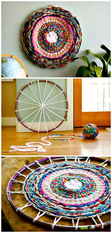 Patrón de alfombra hula-hoop tejida con los dedos gratis