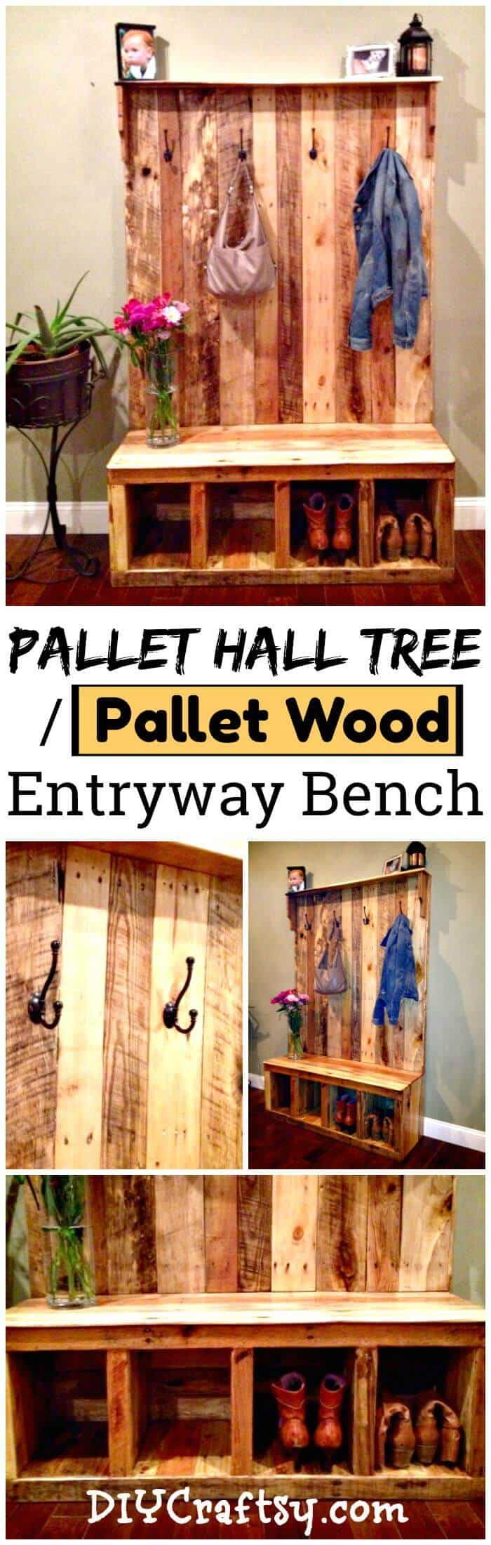 Haga bricolaje su propio árbol de pasillo de paleta o banco de entrada de madera de paleta