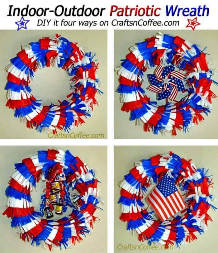 Haz una corona patriótica con flecos para interiores y exteriores