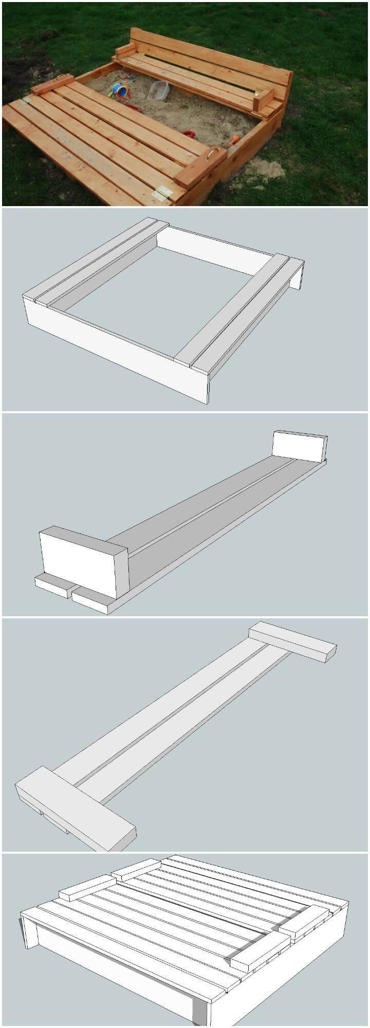 Caja de arena de madera para bricolaje con asientos integrados