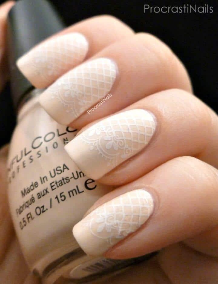 Arte de uñas con estampado de encaje delicado fácil de bricolaje - Tutorial de instrucciones fáciles