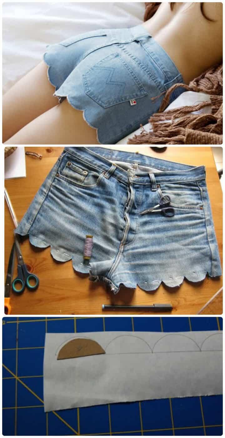 fácil tutorial de pantalones cortos de verano festoneados de bricolaje