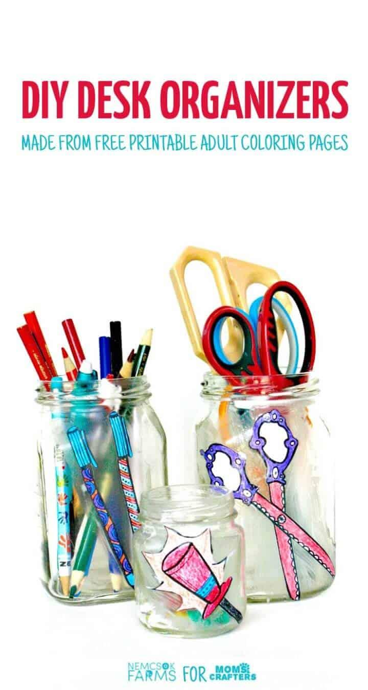 Organizadores de tarros de escritorio con páginas para colorear