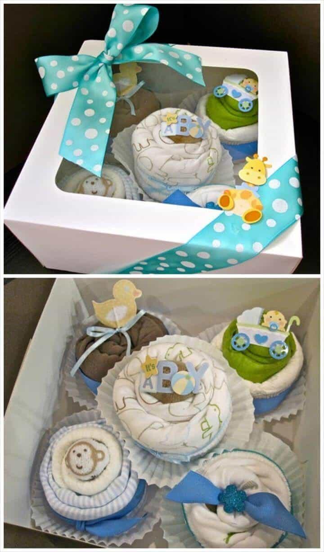 pañales en cupcakes de baby shower