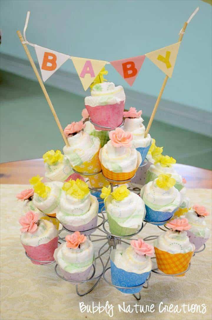 cupcakes de pañal DIY