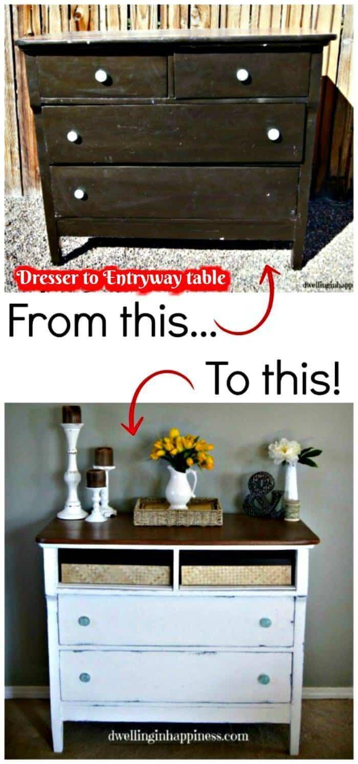 Cómoda a la mesa de entrada - Proyecto de bricolaje antes y después