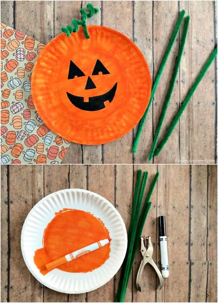 Artesanía de calabaza con plato de papel más fácil