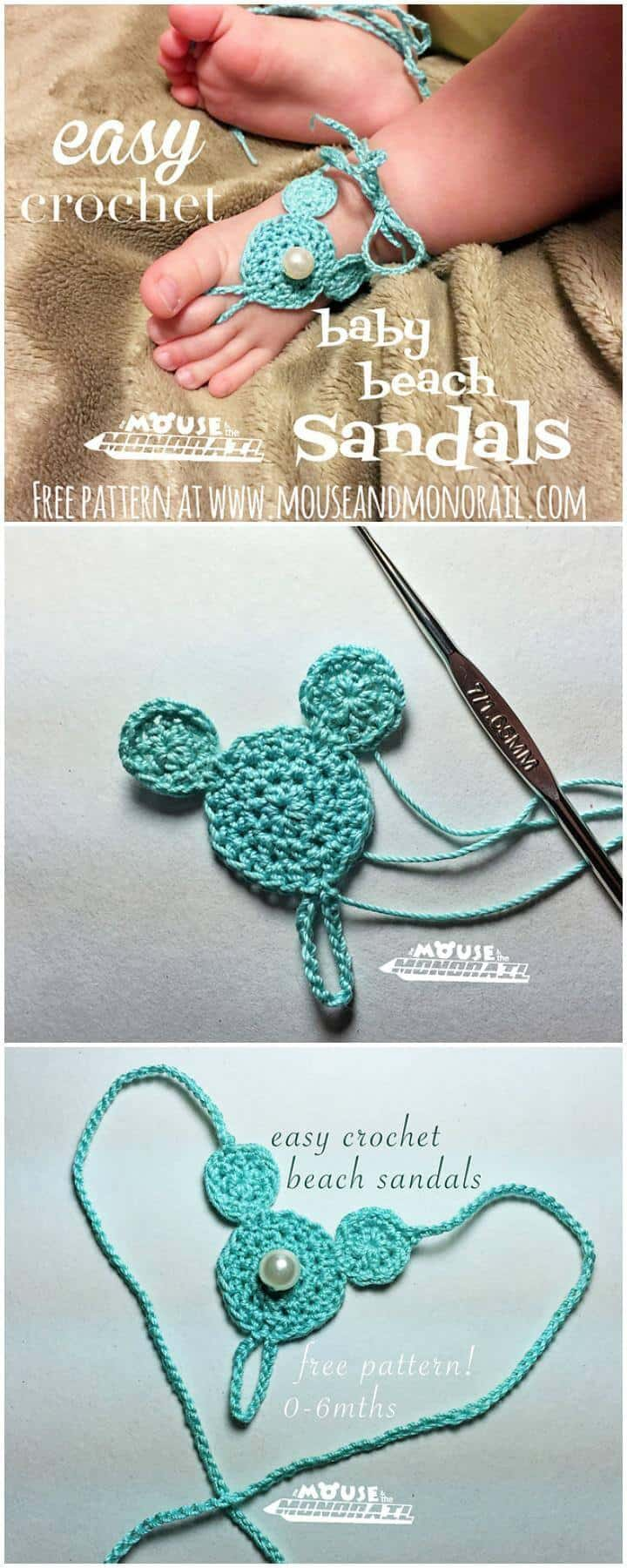 Easy Crochet Baby Beach Barefoot Sandals