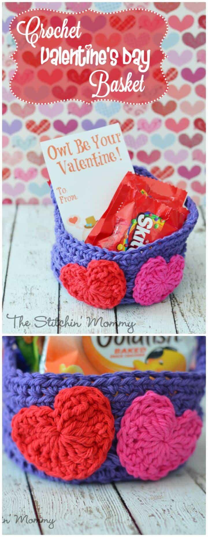 Easy Free Crochet Valentine'S Day Basket Pattern