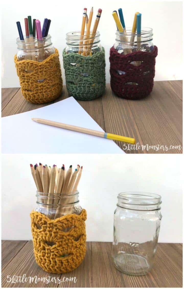 Patrón de cubiertas de tarro de lápiz de ganchillo gratis